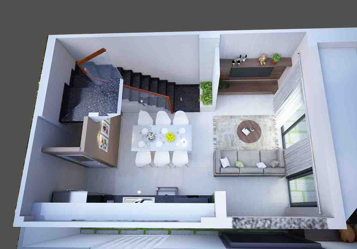 Mẫu nhà diện tích chỉ 4,5m x 7m chỉ hai lầu nhưng có tới 4 phòng ngủ với đầy đủ tiện nghi, đẹp và thoáng đến không tưởng... 11