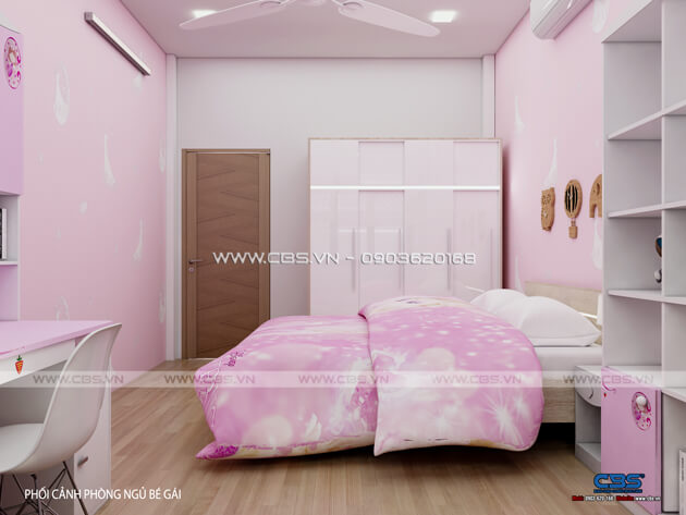 Các mẫu phòng ngủ sắc hồng đáng yêu dành cho bé gái 11