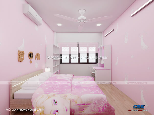 Các mẫu phòng ngủ sắc hồng đáng yêu dành cho bé gái 12