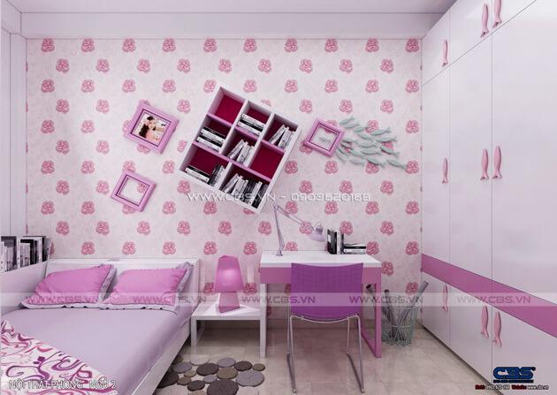 Các mẫu phòng ngủ sắc hồng đáng yêu dành cho bé gái 6