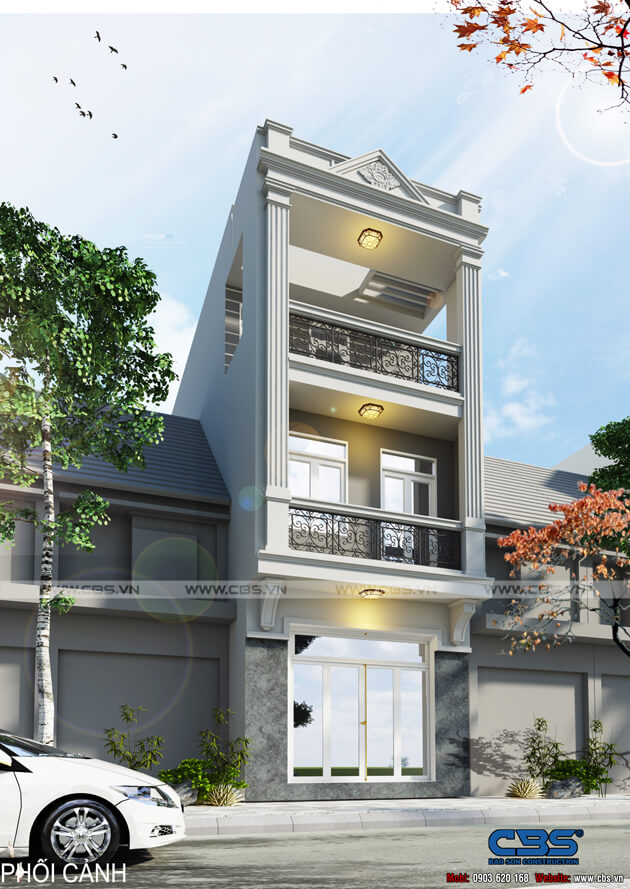 Mẫu thiết kế nhà phố 3 tầng lầu phong cách bán cổ điển 19