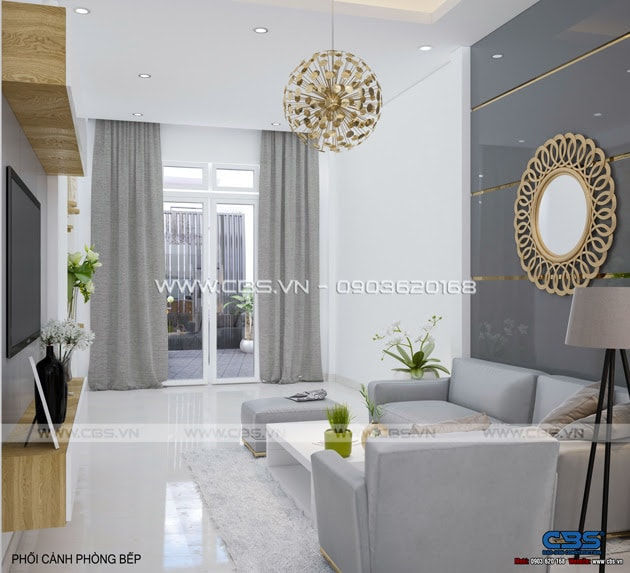 Phòng khách sang trọng với sofa xám làm điểm nhấn 2