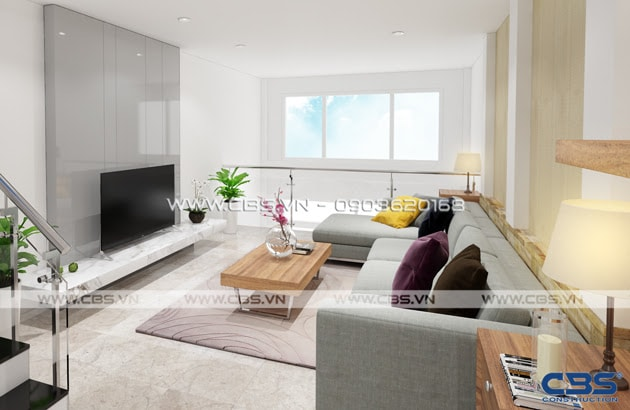 Phòng khách sang trọng với sofa xám làm điểm nhấn 11