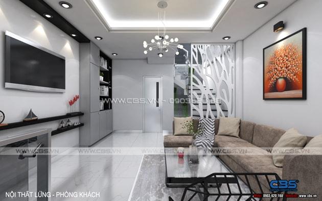 Phòng khách sang trọng với sofa xám làm điểm nhấn 12