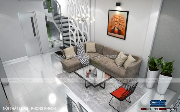 Phòng khách sang trọng với sofa xám làm điểm nhấn 13