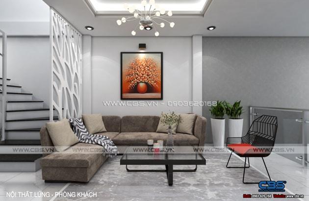 Phòng khách sang trọng với sofa xám làm điểm nhấn 14