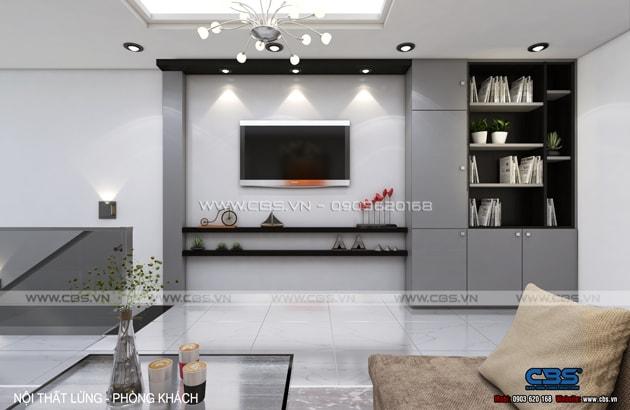 Phòng khách sang trọng với sofa xám làm điểm nhấn 15