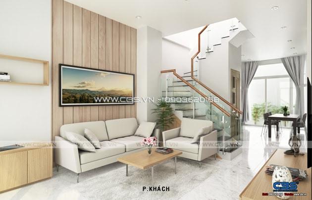 Phòng khách sang trọng với sofa xám làm điểm nhấn 16
