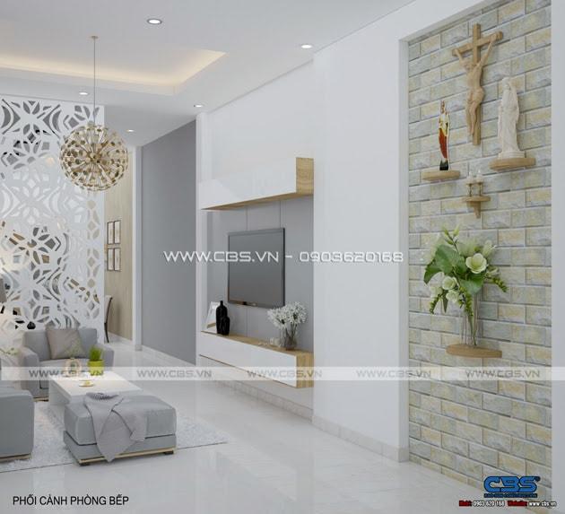 Phòng khách sang trọng với sofa xám làm điểm nhấn 3