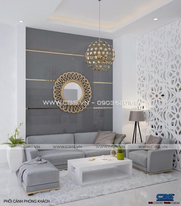 Phòng khách sang trọng với sofa xám làm điểm nhấn 4