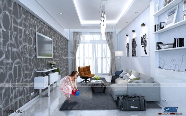 Phòng khách sang trọng với sofa xám làm điểm nhấn 5