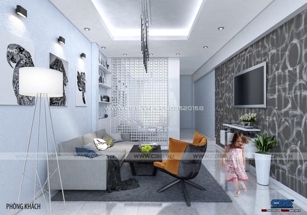 Phòng khách sang trọng với sofa xám làm điểm nhấn 6