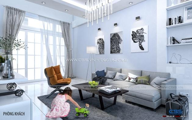 Phòng khách sang trọng với sofa xám làm điểm nhấn 7