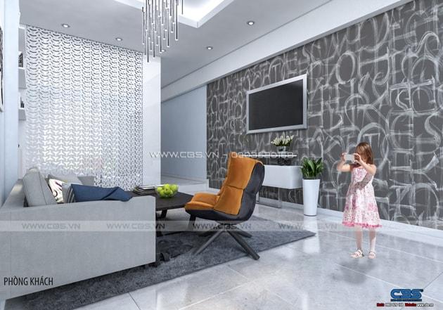 Phòng khách sang trọng với sofa xám làm điểm nhấn 8