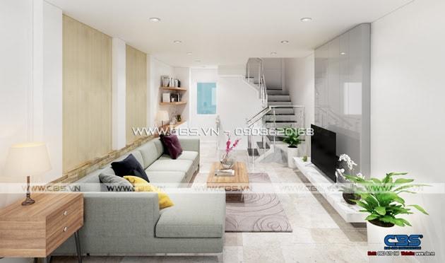 Phòng khách sang trọng với sofa xám làm điểm nhấn 10