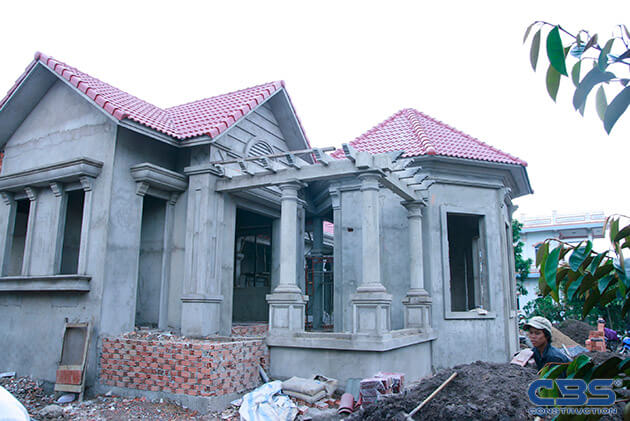 Hình ảnh thi công xây dựng biệt thự gia đình chú Tám Mẫn 14
