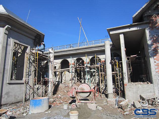 Hình ảnh thi công xây dựng biệt thự gia đình chú Tám Mẫn 4