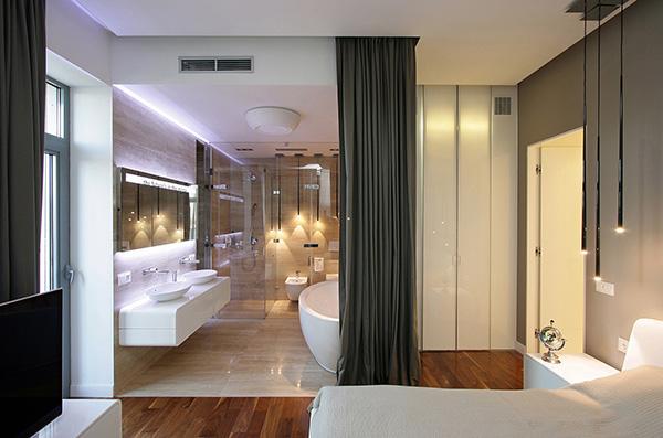 thiết kế phòng tắm trong phòng ngủ